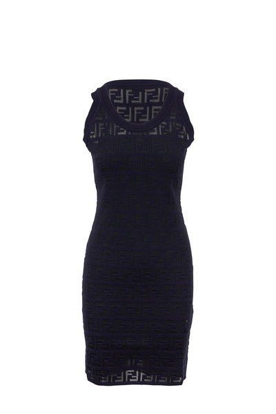 Fendi - Navy Blue Knit Logo Embossed Sleeveless Dress
