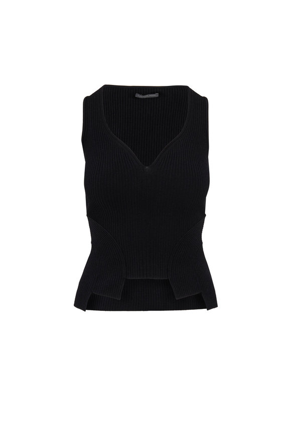 Alexander McQueen Black Ribbed Knit Cut-Out Top