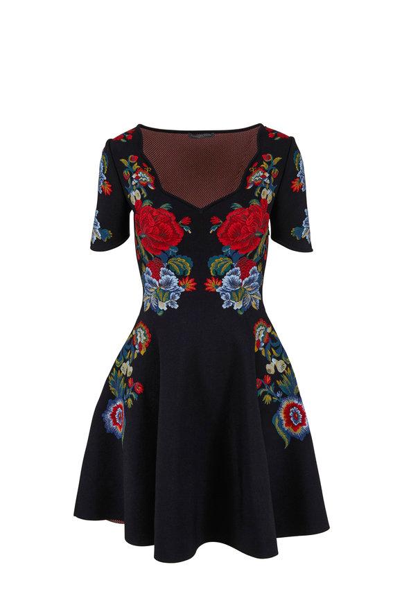 Alexander McQueen Black Floral Jacquard Knit Mini Dress