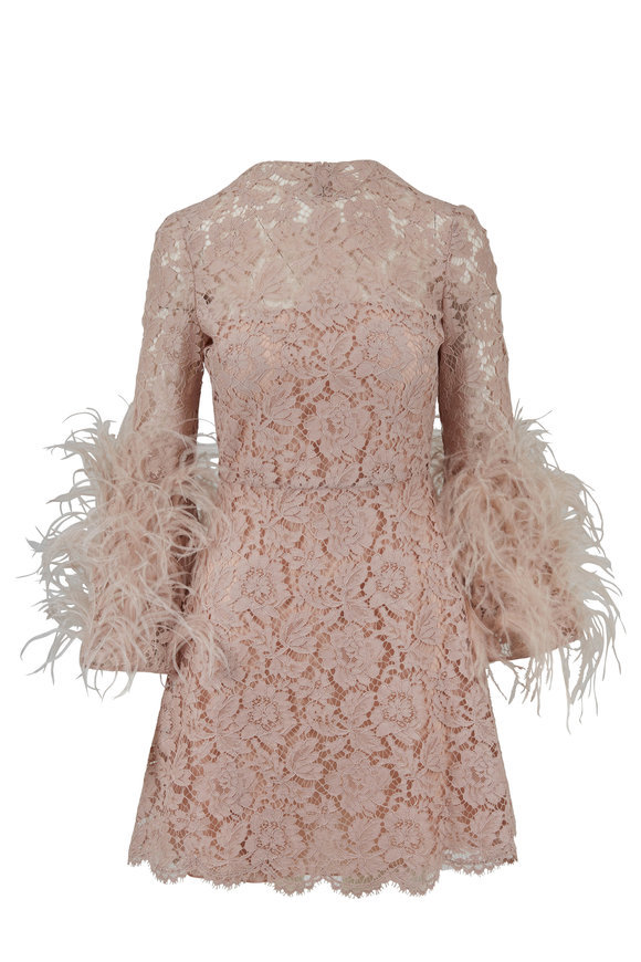 Valentino Poudre Lace Three-Quarter Feather Sleeve Dress