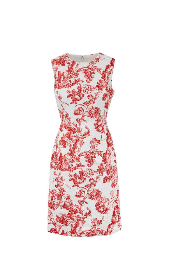 Oscar de la Renta Scarlet Toile Sleeveless Sheath Dress