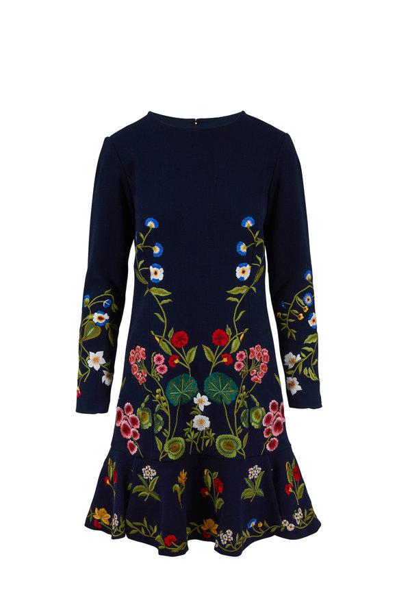 Oscar de la Renta Navy Floral Embroidered Flounce Hem Dress