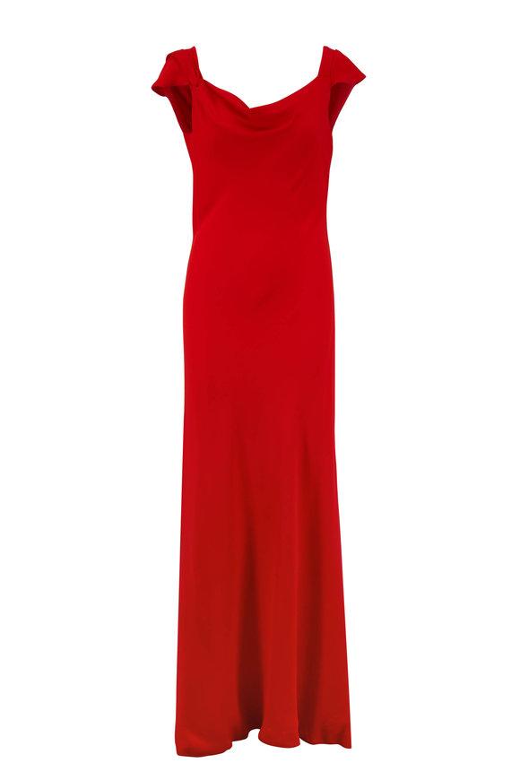 Oscar de la Renta Cayenne Red Cap-Sleeve Gown