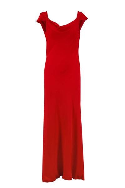 Oscar de la Renta - Cayenne Red Cap-Sleeve Gown