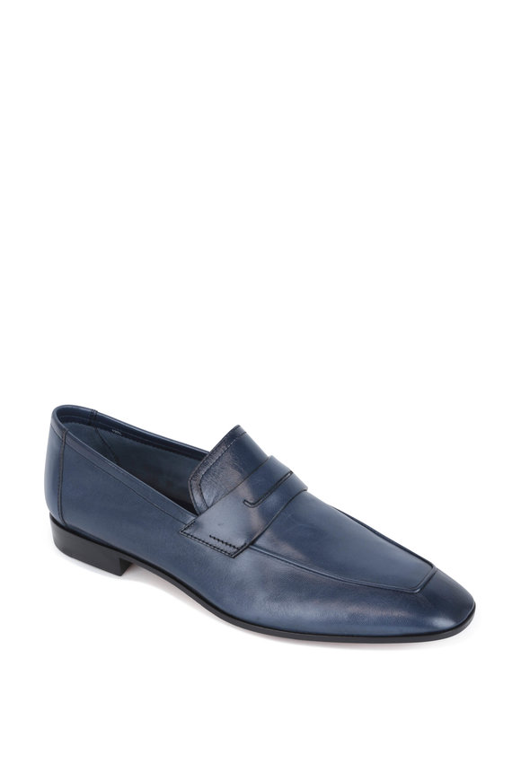 Berluti Rimini Navy Blue Leather Loafer