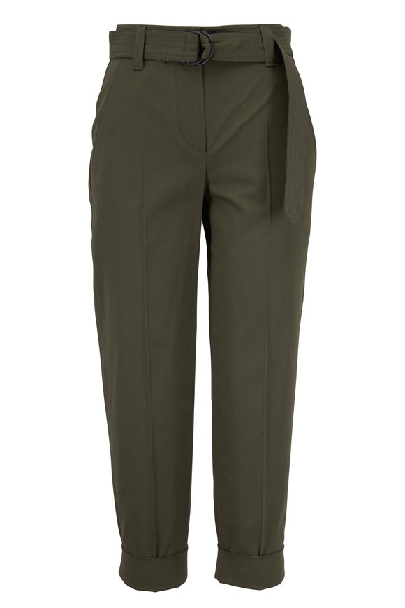 Brunello Cucinelli Exclusive Military Cotton Crêpe Belted Pant