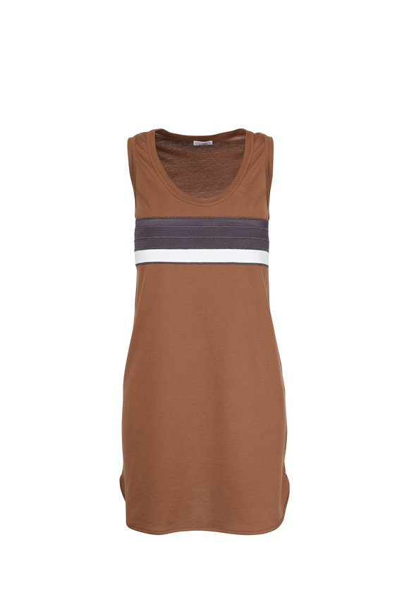 Brunello Cucinelli Exclusive Cafe Bi-Color Striped Sleeveless Dress