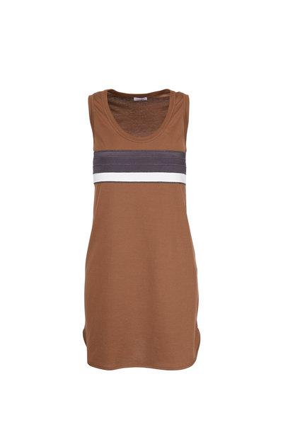 Brunello Cucinelli - Exclusive Cafe Bi-Color Striped Sleeveless Dress