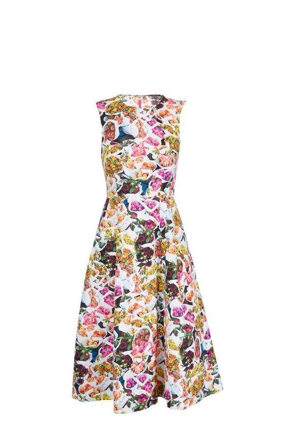 Adam Lippes Multicolor Floral Cotton & Silk Sleeveless Dress