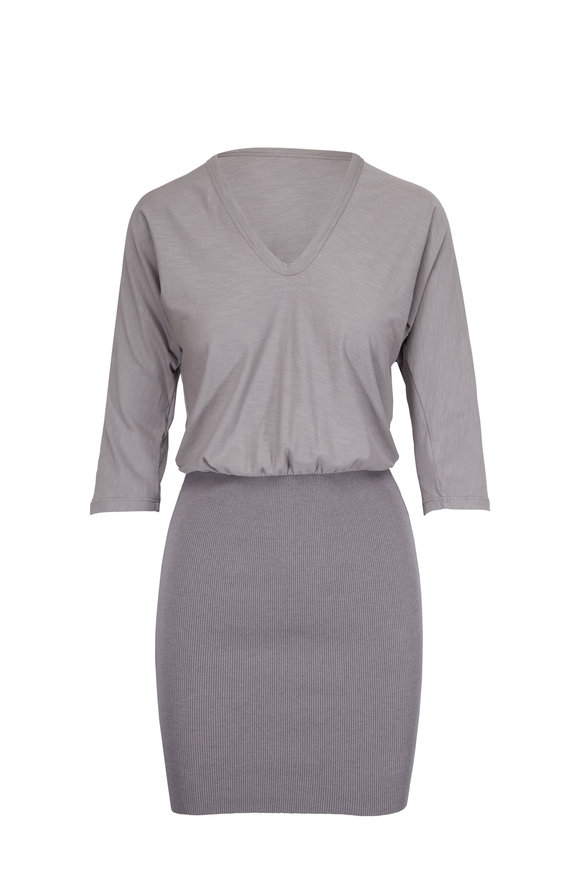 James Perse Mixed Media Grey Blouson Dress