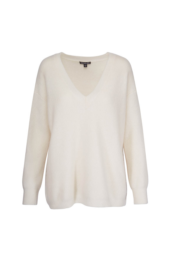 James Perse Ivory Cashmere V-Neck Sweater