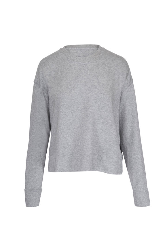 James Perse Relaxed Grey Cropped Pullover Sweatshirt