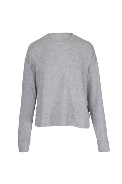 James Perse - Relaxed Grey Cropped Pullover Sweatshirt