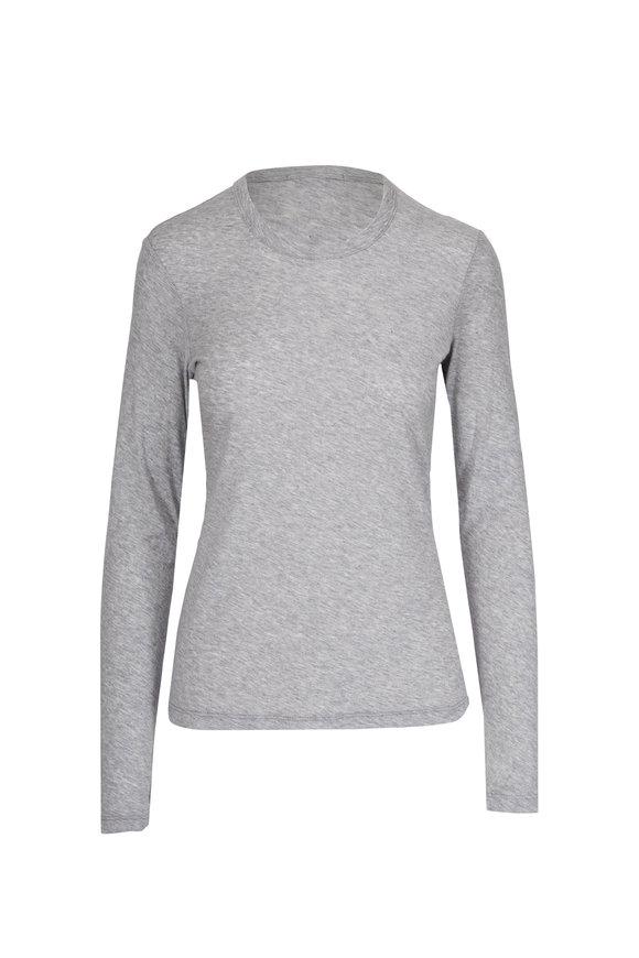 James Perse Grey Sheer Slub Long Sleeve T-Shirt