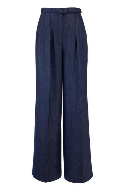 Gabriela Hearst - Vargas Navy Pleat Belted Wide Leg Pant
