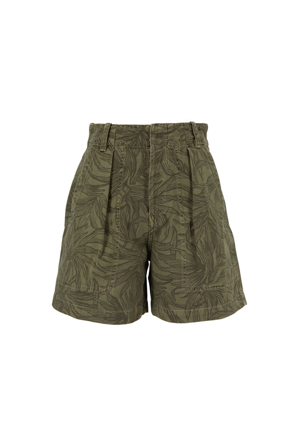 Citizens of Humanity Cassidy Pleat Palm Green Printed Shorts