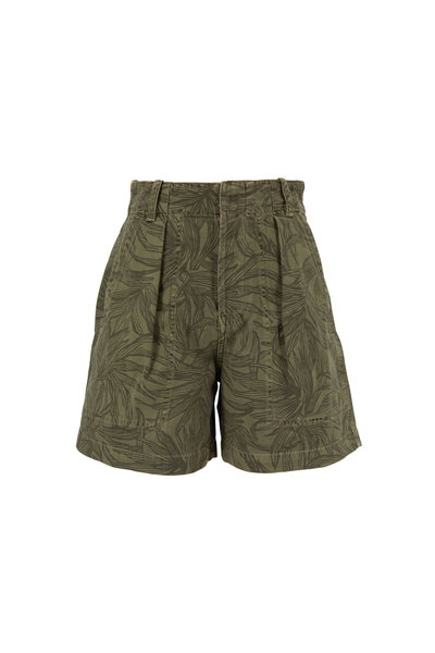 Citizens of Humanity - Cassidy Pleat Palm Green Printed Shorts
