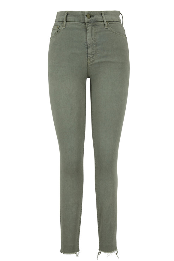 Mother Denim The Looker Army Green High-Rise Ankle Fray Jean