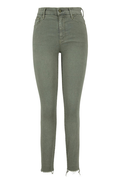 Mother Denim - The Looker Army Green High-Rise Ankle Fray Jean