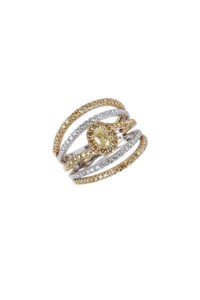 Cairo - 18K Yellow Gold White & Yellow Diamond Band Ring