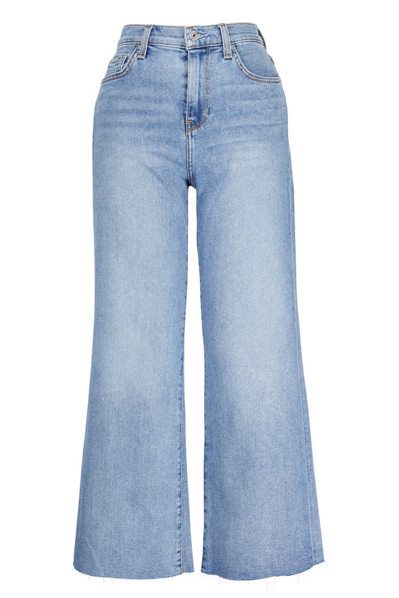 7 For All Mankind Alexa Flora Cropped Trouser Raw Hem Jean
