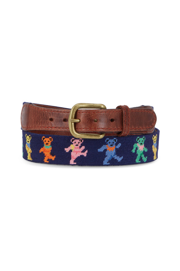 Smathers & Branson Multicolor Dancing Bears Needlepoint Belt