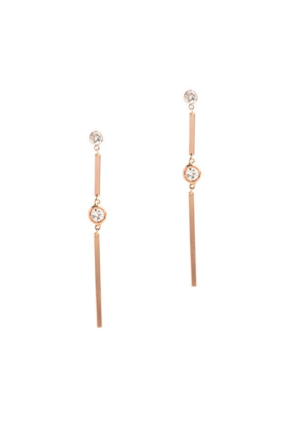 Genevieve Lau Rose Gold White Diamond Stick Earrings
