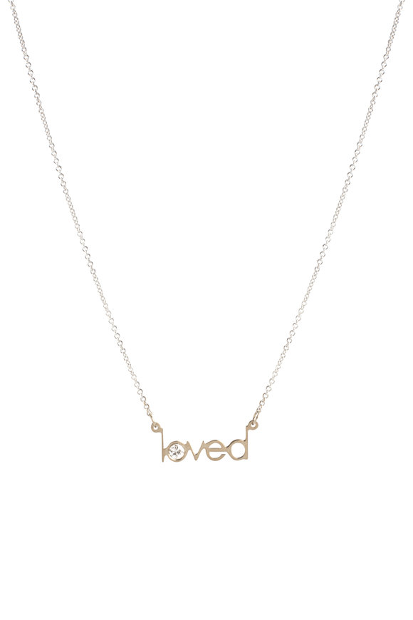 Genevieve Lau 14K White Gold Loved Single Diamond Necklace