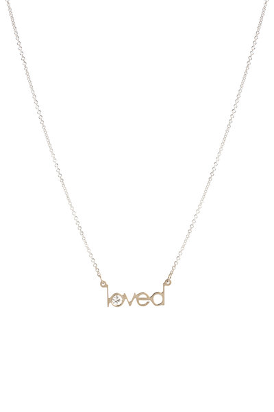 Genevieve Lau - 14K White Gold Loved Single Diamond Necklace