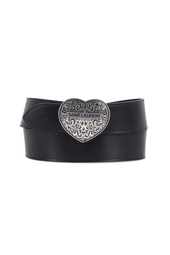Saint Laurent Black Leather Texan Heart Buckle Belt
