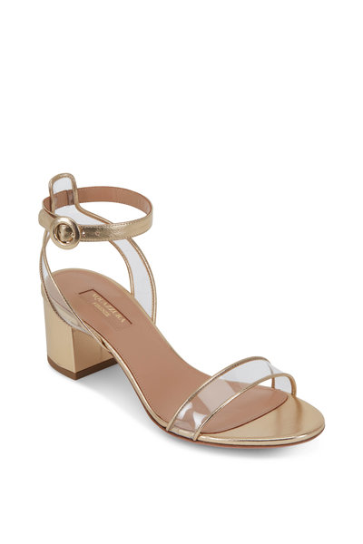 Aquazzura - Minimalist Soft Gold Leather & PVC Sandal, 50mm