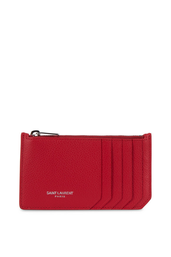 Saint Laurent Chili Red Leather Card Case