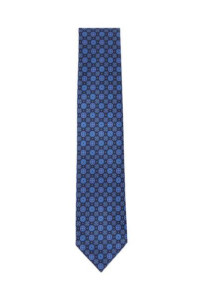 Ermenegildo Zegna - Navy Blue Floral Pattern Silk Necktie