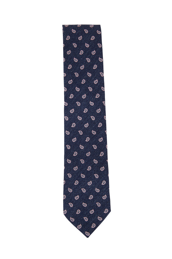 Ermenegildo Zegna Navy Blue & Light Pink Paisley Silk Necktie