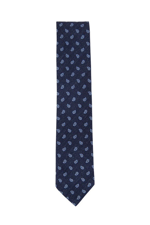 Ermenegildo Zegna Navy Blue Paisley Silk Necktie
