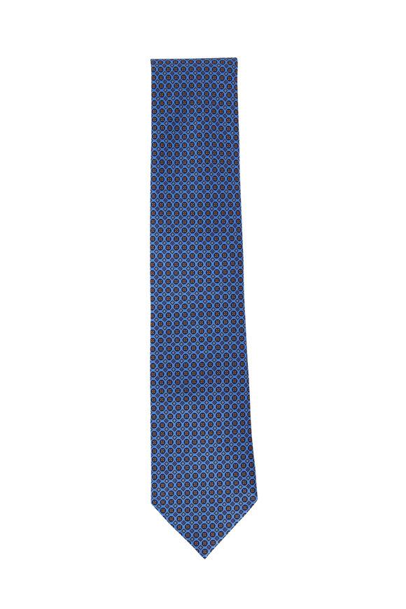 Ermenegildo Zegna Medium Blue Geometric Silk Necktie