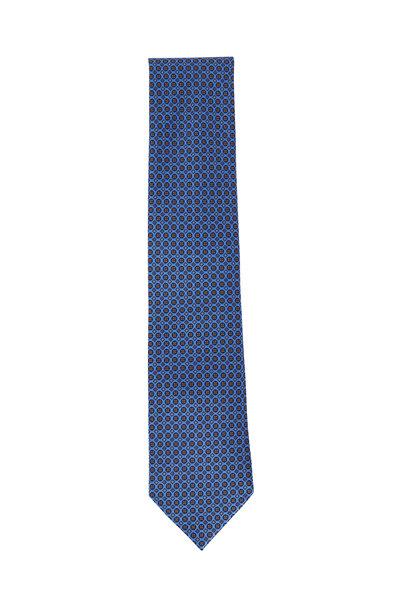 Ermenegildo Zegna - Medium Blue Geometric Silk Necktie