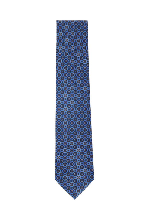 Ermenegildo Zegna  Royal Blue Medallion Silk Necktie
