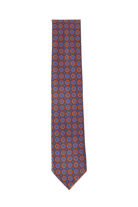 Ermenegildo Zegna Orange & Navy Blue Floral Pattern Silk Necktie