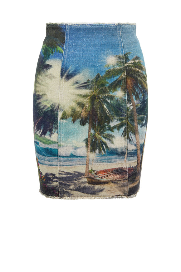 Balmain Multicolor Palm Tree Printed High-Waist Skirt