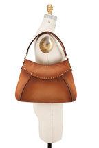 Valentino Garavani - Twinkle Studs Cognac Leather Medium Hobo Bag