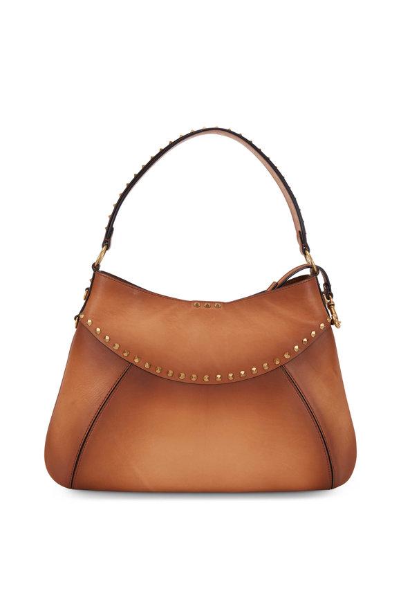 Valentino Garavani Twinkle Studs Cognac Leather Medium Hobo Bag