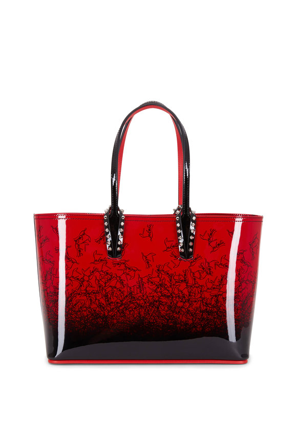 Christian Louboutin Cabata Red & Black Patent Small Tote