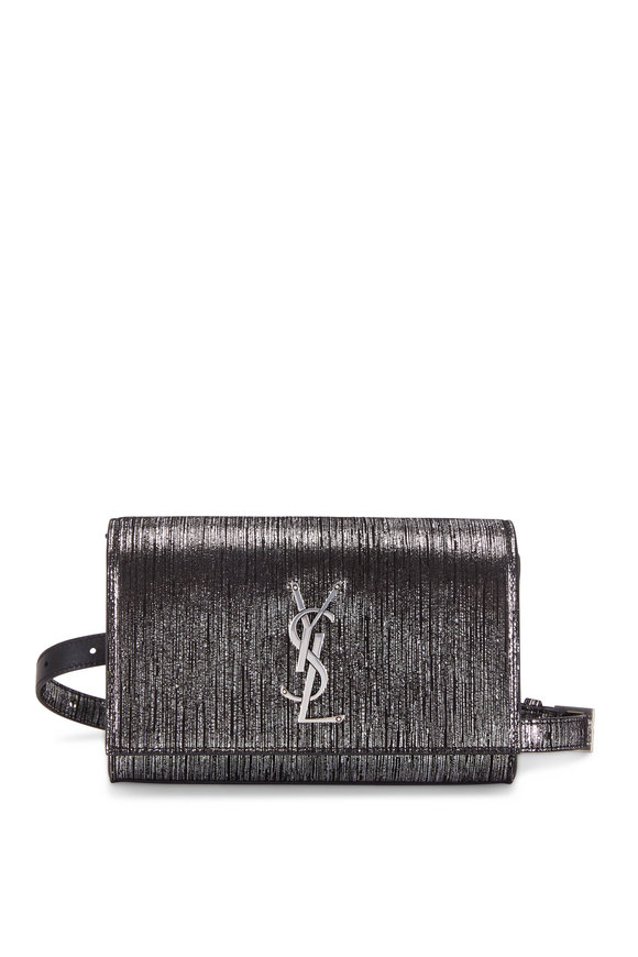 Saint Laurent Kate Textured Metallic Black & Gunmetal Belt Bag