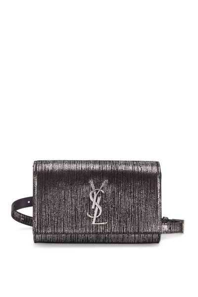Saint Laurent - Kate Textured Metallic Black & Gunmetal Belt Bag