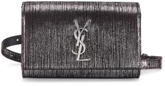 Saint Laurent Kate Textured Metallic Black & Gunmetal Belt Bag