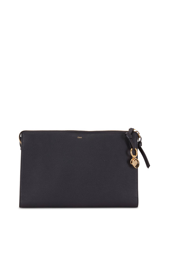 Chloé C Charm Black Leather Large Zip Pouch