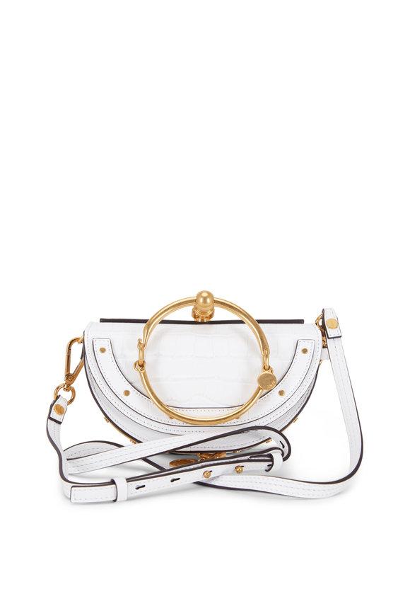 Chloé Nile White Embossed Leather Bracelet Crossbody