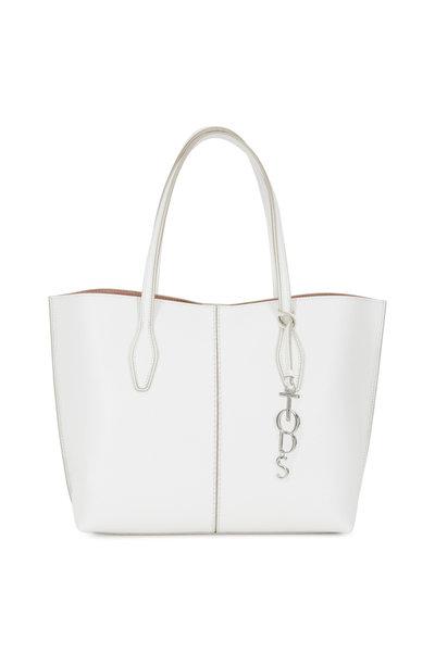 Tod's - Joy White Pebbled Leather Medium Shoulder Bag
