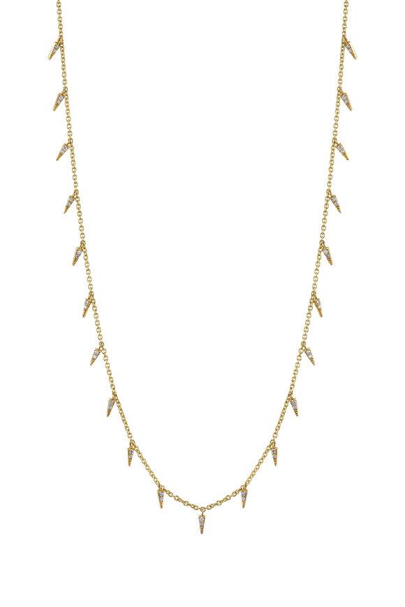 Sydney Evan Yellow Gold Pavé Fringe Drop Necklace